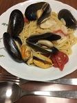 ムール貝のスープパスタ