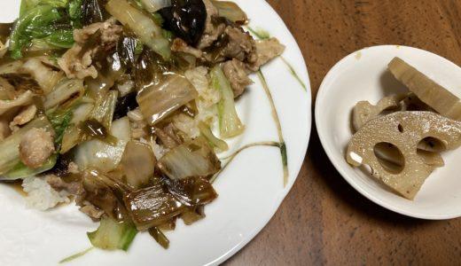 在宅勤務ランチ ロールキャベツの汁を使って中華丼