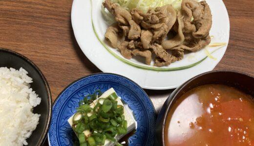 豚肉の生姜焼きとコンソメなしのシンプルミネストローネ